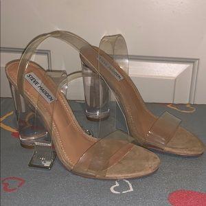 Clear block heel